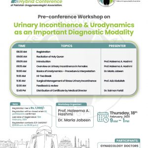 """Workshop on """"Urinary Incontinence & Urodynamics as an Important Diagnostic Modality"""""""